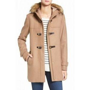 Cole Haan | Wool Walker Faux Fur Hood Toggle Coat